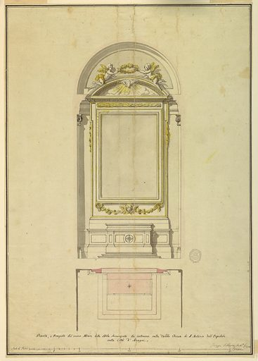 Project for an altar of the Annunciation for S. Antonio dell'Ospedale in Anagni. Made in: Rome, Italy. Date: 1780s. Record ID: chndm_1901-39-2619.