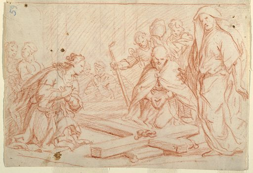 Several men and a woman kneel and bend in veneration around the Cross on the ground, the Crown of Thorns still attached. Made in: Italy. Date: 1650s. Record ID: chndm_1901-39-2713.
