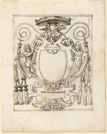 Vertical composition of a prelate's escutcheon with a scrollwork frame flanked by two women. On top is a bat and spirals of rope. Framed with two lines. By the same designer as -1731. Made in: Italy. Date: 1600s. Record ID: chndm_1901-39-2740.