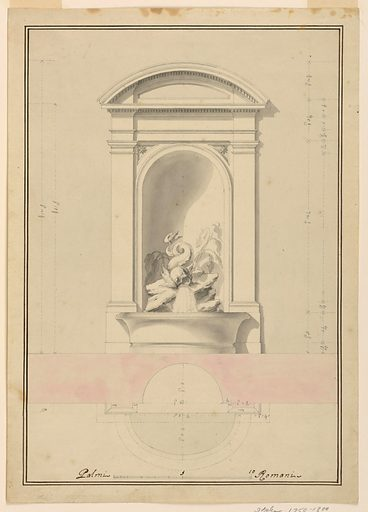 A niche with a segmented pediment. Water flows from the mouth of a dolphin and into a basin. Measured plan below. Made in: Italy. Date: 1800s. Record ID: chndm_1901-39-389.