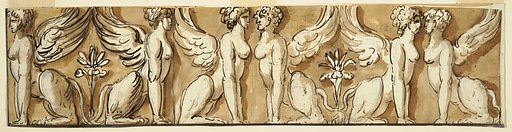 Horizontal panel with six sphinxes. Made in: Italy. Date: 1800s. Record ID: chndm_1901-39-415.