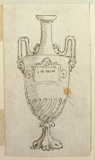 Elevation of an urn with handles springing from masks and terminating in birds. Made in: Italy. Date: 1800s. Record ID: chndm_1901-39-470.