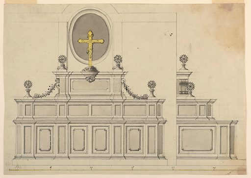 Measured elevation with alternative suggestions. Front and side view shown. At top, a crucifix in yellow watercolor. Made in: Italy. Date: 1800s. Record ID: chndm_1901-39-547.