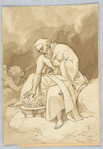 An allegorical figure of winter, a seated old man, warms himself by a fire. Nearby a figure blows cold wind. Made in: Italy. Date: 1800s. Record ID: chndm_1901-39-59.