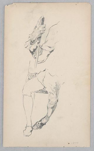 Sketch of a male figure dressed in a uniform, with long waistcoat, short pants. Made in: USA. Date: 1870s. Record ID: chndm_1904-16-118.