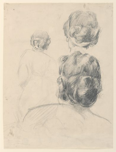 Three sketches of a female figure's head and neck. That at left is in a small scale and shows a sketch of the body. The lower one in the right row is in the biggest scale of three designs and shows the outlines of the shoulder. Made in: New York, NY, USA. Date: 1890s. Record ID: chndm_1904-16-14-d.