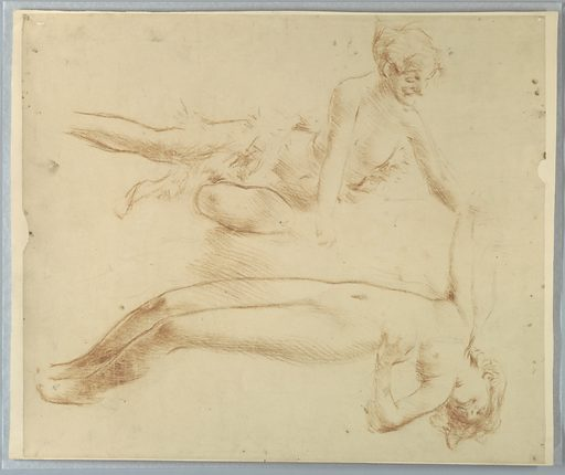 Two sketches of a reclining female figure. The maenads alone. Made in: New York, NY, USA. Date: 1890s. Record ID: chndm_1904-16-2-b.