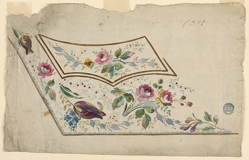 Design for the embroidery of the left bottom part of a man's waistcoat. The waistoat and the pocket are brown edged. The decoration consists of flower boughs; roses and tulips are included. Made in: France. Date: 1780s. Record ID: chndm_1906-21-178.