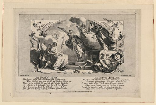 Salutatio Angelica. Print maker: Johann Evangelist Holzer, German, 1709 – 1740. Made in: Germany. Date: 1700s. Record ID: chndm_1906-31-1.