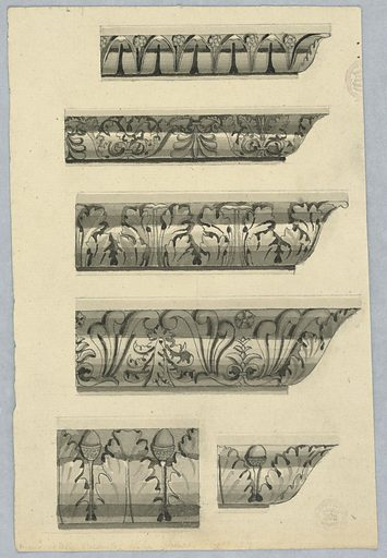 The right corners are shown in the four upper designs, top and third rows: with leaf bands; second and fourth rows with palmette bands. Bottom row, left: a detail with a leaf band, with standing acorns in the intervals. Bottom row, right: a right corner with the same decoration. Made in: France. Date: 1810s. Record ID: chndm_1909-13-10.