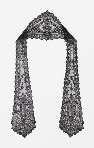 Black lace headcovering with a cap streamer at either side. Chantilly-style design showing a stylized floral pattern. Made in: Chantilly, France. Date: 1820s. Record ID: chndm_1957-119-30.