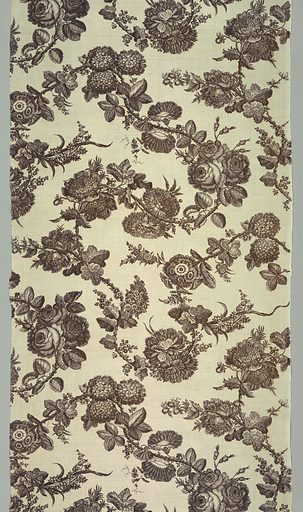 Design shows a large flowering vine of natural scale roses and morning glories. Made in: England. Date: 1760s. Record ID: chndm_1957-153-1-a_d.