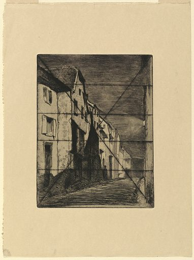 A night scene in a narrow village street. The buildings are bathed in brilliant moonlight, left. A lantern shines on a building, right. The plate is crossed by bisecting lines from the four corners and four parallel horizontal lines, all in dry point. Made in: USA. Date: 1850s. Record ID: chndm_1957-168-13.
