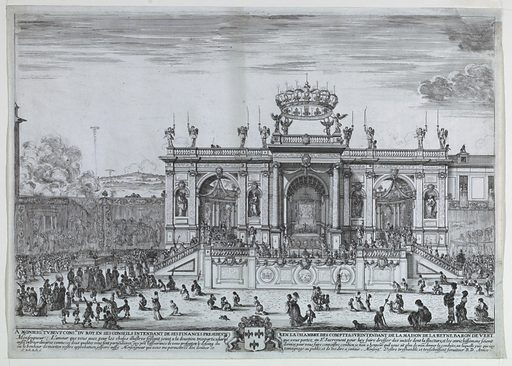 Horizontal rectangle. Before a columned ediface, surmounted by a crown, in which is a chapel, the procession of the Host approaches from the left. Behind the priests is seen the young Louis XIV and his mother, Anne of Austria, and many other figures. Below, a dedication and six line inscription. Made in: Italy. Date: 1650s. Record ID: chndm_1957-81-1.