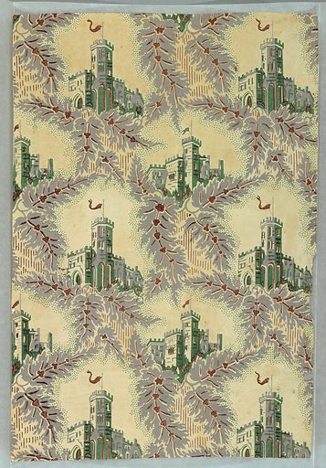 Gothic-inspired design, with alternating views of castles of two different designs set in irregular framework composed of gray leaves with red veining, edged with green dotting. Vertical rectangle. Made in: USA. Date: 1850s. Record ID: chndm_1938-62-7.