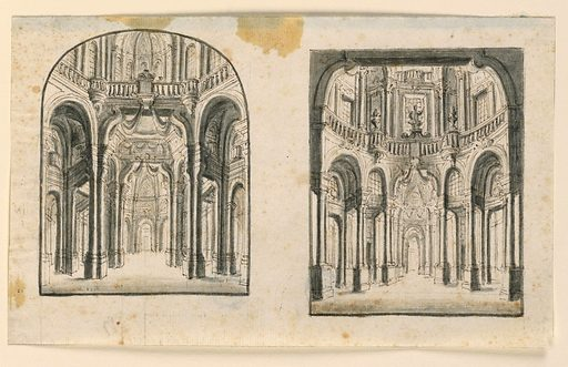 Two vertical rectangles on one sheet, both showing circular halls with balustrades running above the vaults of the ground floor. Richly decorated with coupled columns and cloth hangings. Made in: Italy. Date: 1700s. Record ID: chndm_1938-88-10.
