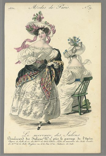 Fashion illustration featuring a woman on the left facing forward, wearing a long, voluminous, white, off-the-shoulder dress that includes floral embellishments on the skirt. She also wears black shoes, a pink belt, and a large pink and white hat on top of her brown curls. Her arms are slightly raised, with her left arm holding a black shawl which is partially covered with an elaborate, colorful paisley pattern, or perhaps reversible, with the paisley covering one side and black on the other. On the right, a woman wearing a white dress with a blue belt and a white and blue hat sits in a green wooden chair, facing slightly left and glancing right, with her back turned towards the viewer. Made in: Paris, France. Date: 1830s. Record ID: chndm_1980-36-3947.