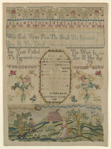 In the center, a prayer with flowering sprays on either side; at the top, alphabets and verse; below scene with shepherd and shepherdess and animals on a lawn before a house. Made in: England. Date: 1770s. Record ID: chndm_1941-69-91.