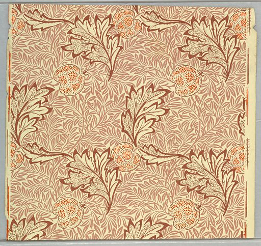 Allover pattern of pink leaves on thin branches, overlapping large dark pink leaves and orange-colored apples composed of small dots. Made in: England. Date: 1870s. Record ID: chndm_1941-74-8-a_c.