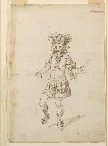 Vertical rectangle. The hands are roughly sketched, in pencil. Shown in a dancing pose, frontally. Made in: Modena, Italy. Date: 1700s. Record ID: chndm_1942-3-15.