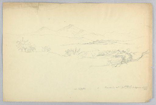 Fence, right, with farm beyond. Ridges, with mountains beyond. Made in: USA. Date: 1850s. Record ID: chndm_1942-50-285.