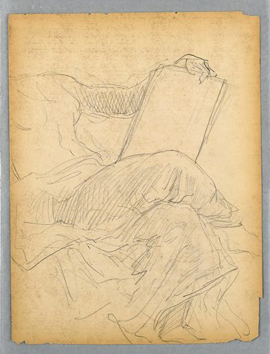 Woman in drapery, seated, turned to the right with her legs crossed. Her left arm rests on a tablet. Verso: Woman in same postion, with slate shaded and right arm not shown. Made in: USA. Date: 1880s. Record ID: chndm_1942-50-405.