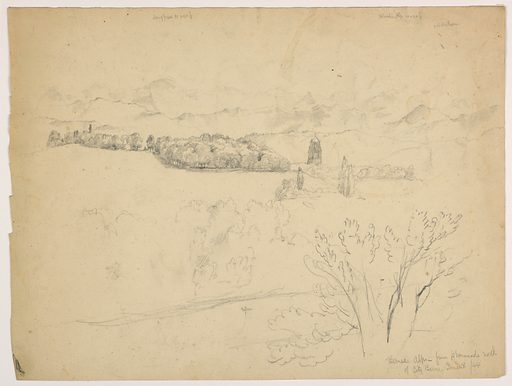 Trees in foreground. Church steeple and forest in middleground, with mountains beyond. Verso: Mountain ridge, with cliifs at upper left. Date: 1840s. Record ID: chndm_1942-50-450.