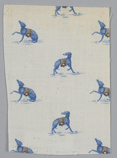 Woven cotton textile printed in blue and brown on white ground showing a pattern of greyhound dogs. Made in: USA. Date: 1900s. Record ID: chndm_1943-57-1-g.