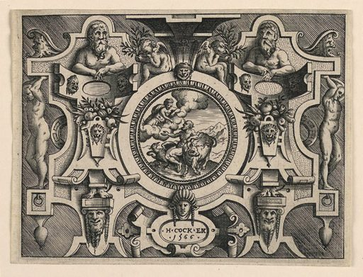 "Horizontal rectangles showing a strapwork design. At center, a scene of Juno talking to Jupiter. Ignudi and masks flank the scene. At bottom, a cartouche with the inscription ""H.COCK EX / 1566"". Made in: Netherlands. Date: 1560s. Record ID: chndm_1944-83-6-2."