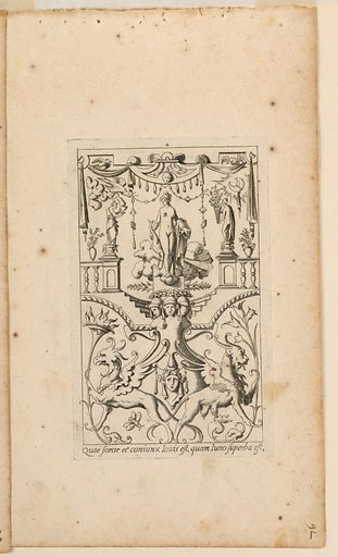 Vertical rectangle. Grotesque panel with Juno as central figure standing on a cloud. Around in a grotesque design, – balustrades, draperies, figures, masques, winged animals , ect. Artist: René Boyvin, French, 1525 – 1625. Made in: France. Date: 1540s. Record ID: chndm_1945-70-8.