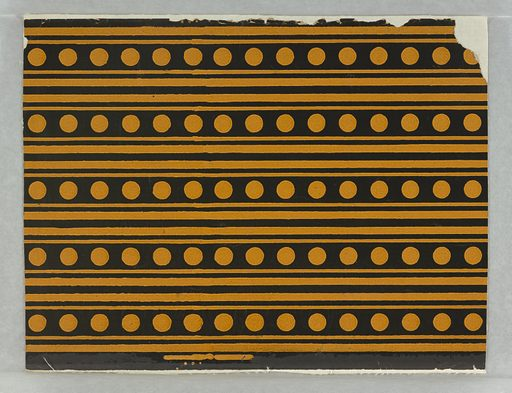 Five borders printed across width of paper. Wide black band containing row of mustard-yellow dots, with narrow black band above and below wide band. Printed on mustard-yellow ground. Date: 1880s. Record ID: chndm_1946-57-1.