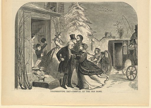 The grandfather and grandmother greeting the daughter and grandchildren at the door. Carriage at right, with snowy landscape in background. Lower half of the page. Made in: USA. Date: 1850s. Record ID: chndm_1947-4-38.