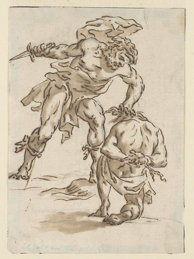 A standing semi-nude figure is seen frontally, knife in right hand. He is on the verge of plunging the knife into a bound, semi-nude man, who kneels before him. Made in: Italy. Date: 1800s. Record ID: chndm_1948-118-62.