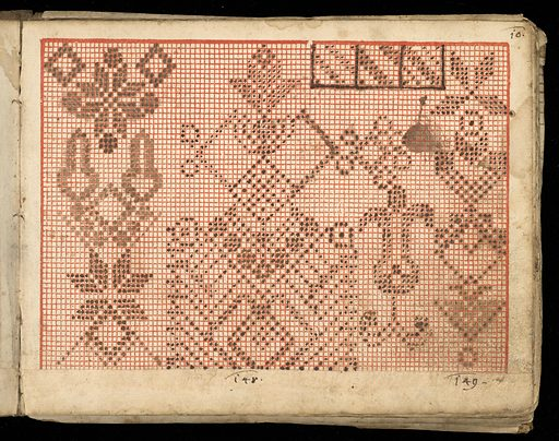 Small, oblong book covered in decorated end papers with vellum corners and back and remains of leather tabs to tie. Contains weaving graphs in colors of red and black and charts. Simple geometric designs. Made in: Germany. Date: 1800s. Record ID: chndm_1953-119-2.