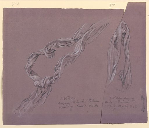 Sketch of a small narrow section of drapery. Made in: USA. Date: 1890s. Record ID: chndm_1955-38-60-b.