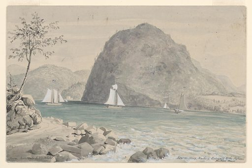 A sketch of Storm King Mountain from across the Hudson River at the base of Breakneck Ridge; Center left, sailboats under sail on the Hudson River and an American colonial house on the west bank of the river. Made in: USA. Date: 1840s. Record ID: chndm_1955-49-2.