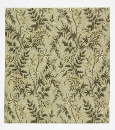 Aesthetic all-over pattern with motif of flowering vine with several different varieties of flowers; single-motif repeat vertically glide reflected and repeated in columns; flowers are tan, white, and yellow, vine is green, and white sprigs fill negative space; ground is light green. Made in: USA. Date: 1880s. Record ID: chndm_1970-26-4-ch.