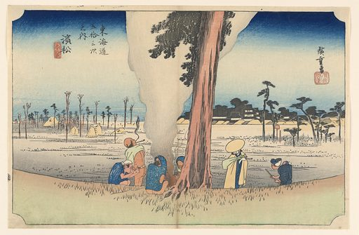 Here is the subdued scene of farmers warming themselves by a fire under a giant cryptomeria tree overlooks the famous battlefield of Mikatagahara and castle of the first Tokugawa shogun, Ieyasu. Made in: Japan. Date: 1820s. Record ID: chndm_1948-134-30.