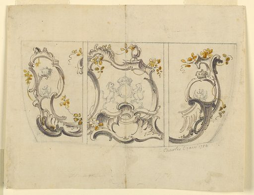 Rocaille design for coach panels. Upper and lower left corners have advertisements for coach painting attached. Date: 1750s. Record ID: chndm_1948-40-185.