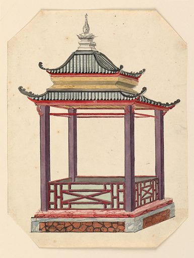 Vertical rectangle. An open pavilion, rectangular in plan, with a two-tiered pagoda roof supported by four columns. The structure stands on a podium. A low balustrade, decorated with lattice-work, encircles the porch. Made in: England. Date: 1810s. Record ID: chndm_1948-40-85.