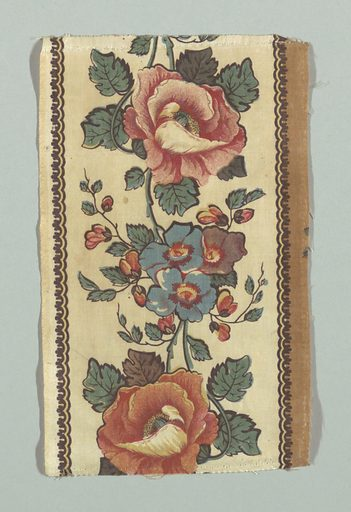 Border with large red and blue flowers with green leaves on a pale yellow ground. Narrow guard borders in tan and dark brown. Made in: England. Date: 1800s. Record ID: chndm_1948-65-20-b.