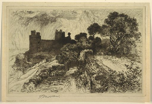 Medieval castle silhouetted against the sky in the background, with a stone wall at right. Made in: USA. Date: 1880s. Record ID: chndm_1948-71-2.