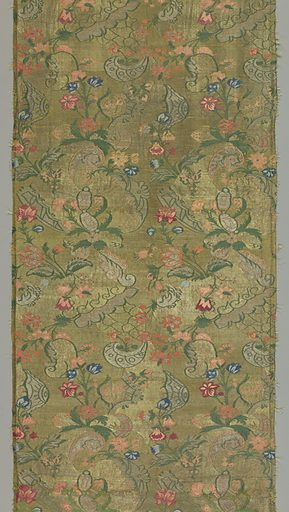 Large pomegranates and baroque scrolls are decorated with colorful small blossoms in shades of blue, rose, pink and green. Made in: Italy. Date: 1800s. Record ID: chndm_1952-166-48-a_c.