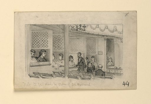 Interior of a theater, looking toward the series of boxes to the left of the stage. Rows of orchestra seats are shown, as well as a section of the pit. Several women are seated in the boxes; two men are seated in the orchestra, one standing, talking to a lady in one of the boxes. Made in: USA. Date: 1860s. Record ID: chndm_1953-200-1.