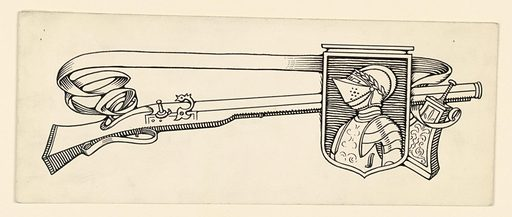 A design inclduing a shield, bearing the bust-length figure of a man in armor, a gun, banderole. Made in: USA. Date: 1910s. Record ID: chndm_1953-48-80.