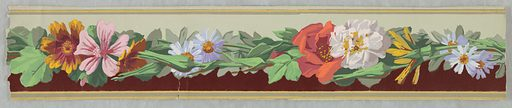 Horizontal band of multi-colored flowers with green leaves set below a gray ground and above a field of dark red flock. Made in: France. Date: 1860s. Record ID: chndm_1954-155-4-a_b.