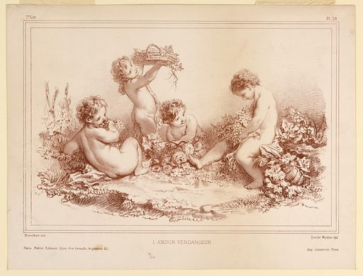 """Four children surrounded by leaves and fruit and flowers, bank them about a cleared space – """"Love gathering the grapes."""". Print maker: Emile Wattier, French, 1800 – 1868. Made in: France. Date: 1820s. Record ID: chndm_1896-3-377."""