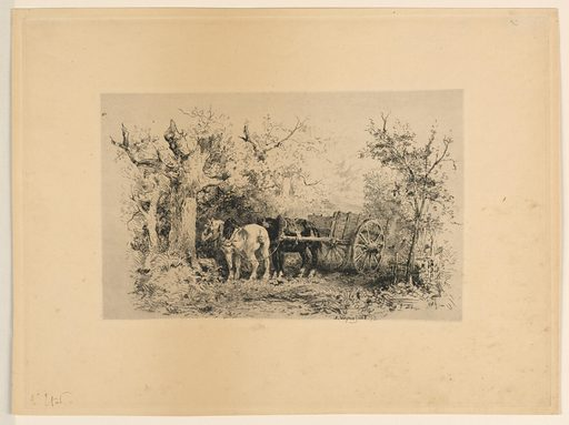 """Two horses (black and white) with a carriage on a forest road. In side view facing to left. Inscribed, lower right: """"J. Veyrassat 73"""". Print maker: Jules Jacques Veyrassat, French, 1828 – 1893. Made in: France. Date: 1870s. Record ID: chndm_1896-3-418."""