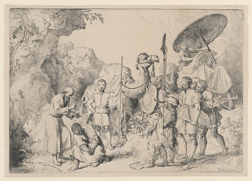 "The baptism takes place in the left foreground before a group of men, some in oriental dress, and a camel. Inscribed, lower right: ""Dietrich 1739"". Print maker: Christian Wilhelm Ernst Dietrich, German, 1712 – 1774. Made in: Germany. Date: 1740s. Record ID: chndm_1896-31-78."