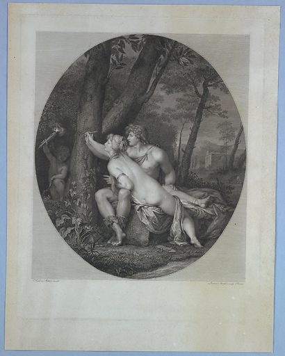 Two Figures Carving onto a Tree. Print maker: Raphael Morghen, 1758 – 1833. Made in: Europe. Date: 1830s. Record ID: chndm_1896-31-94.